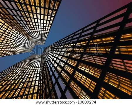 Gleaming skyscrapers in the evening - stock photo
