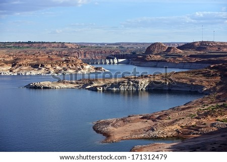 Glen Canyon City of Page Arizona. Lake Powell Reservoir and Dam. - stock photo