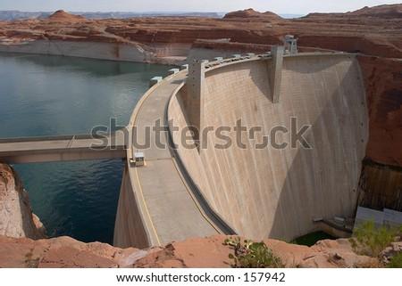 Glen Canyon Dam and Lake Powell Arizona - stock photo