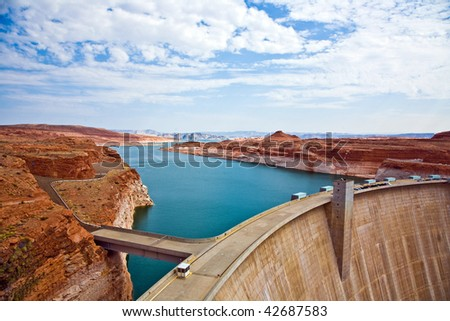 Glen Canyon Dam in Page, hydroelectric power plant  is delivering power for the whole area - stock photo