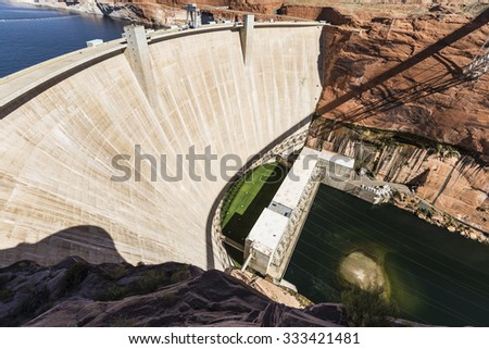 Glen Canyon Dam on the Colorado river in the southwestern United States. - stock photo