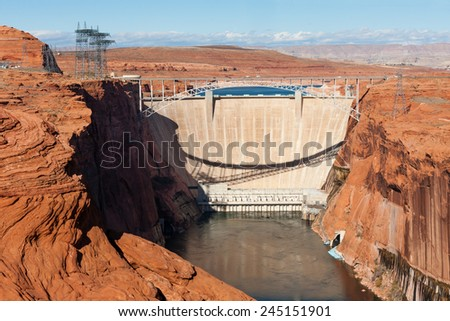 Glen Canyon Dam over Colorado near Page, Arizona - stock photo