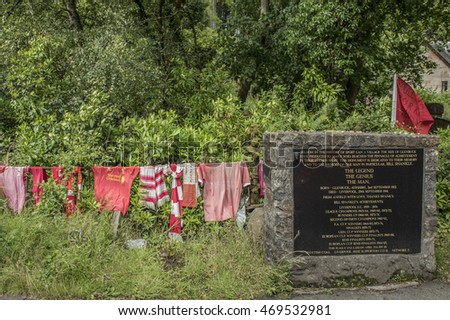 Glenbuck, Ayrshire, Scotland. August 8, 2016: Memorial to Bill Shankly, in his home village, best known for being an outstanding and dynamic manager of Liverpool football club.