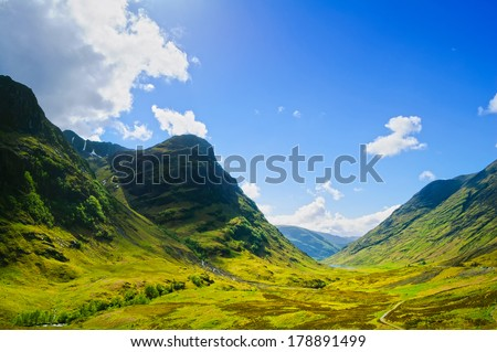 Glencoe or Glen Coe mountains and pass, panoramic view landscape in Lochaber, Scottish Higlands,Scotland. UK. - stock photo