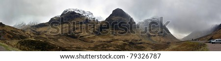 Glencoe Panorama during Storm, Scotland - stock photo