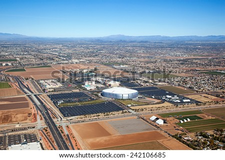 Glendale, Arizona sports and mixed use venues from above - stock photo