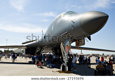 """GLENDALE, AZ - MARCH 21: A B-1 bomber on display at the biennial air show and open house (""""Thunder in the Desert"""") at Luke Air Force Base on March 21, 2009 in Glendale, AZ. - stock photo"""