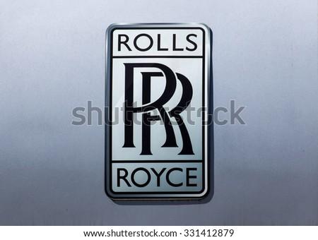 GLENDALE, CA/USA - OCTOBER 24, 2015: Rolls Royce  automobile dealership logo. - stock photo