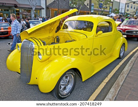 "GLENDALE/CALIFORNIA - JULY 19, 2014: 1936 Buick Coupe owned by Hoist ""Rey"" Drexler at the Glendale Cruise Nights Car Show July 19, 2014 Glendale, California USA  - stock photo"
