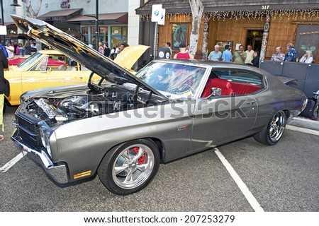 GLENDALE/CALIFORNIA - JULY 19, 2014: 1970 Chevrolet Chevelle LS3 owned by Aram Kazazian at the Glendale Cruise Nights Car Show July 19, 2014 Glendale, California USA  - stock photo