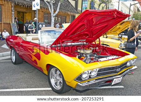 GLENDALE/CALIFORNIA - JULY 19, 2014: 1969 Chevrolet Chevelle owned by Aram Kazazian at the Glendale Cruise Nights Car Show July 19, 2014 Glendale, California USA  - stock photo