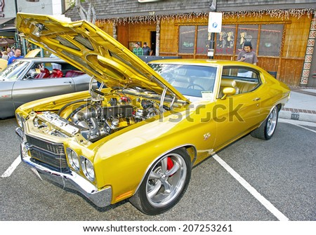 GLENDALE/CALIFORNIA - JULY 19, 2014: 1970 Chevrolet Chevelle SS 454 owned by Aram Kazazian at the Glendale Cruise Nights Car Show July 19, 2014 Glendale, California USA  - stock photo
