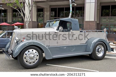 GLENDALE/CALIFORNIA - JULY 19, 2014: 1936 Silverback on display at the Glendale Cruise Nights Car Show July 19, 2014 Glendale, California USA - stock photo