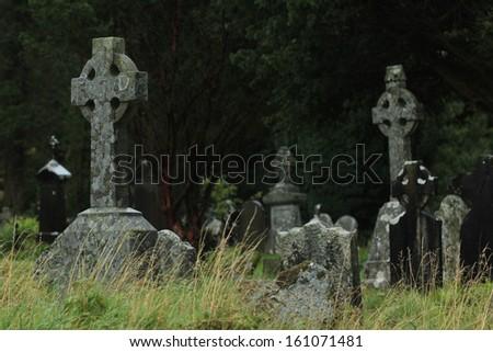 Glendalough, stone crosses - stock photo
