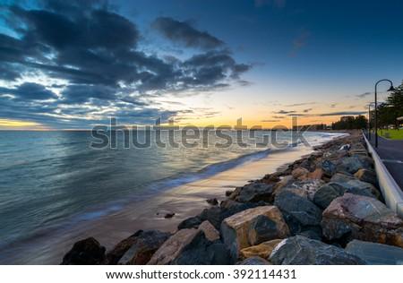 Glenelg Beach at Sunset, South Australia. Long exposure camera settings - stock photo