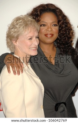 Glenn Close and Oprah Winfrey   at The Hollywood Reporter's Annual Women In Entertainment Breakfast. Beverly Hills Hotel, Beverly Hills, CA. 12-05-08 - stock photo