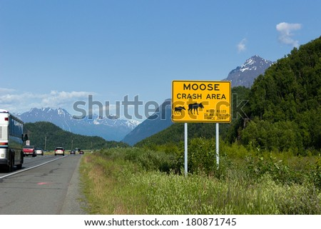 Glenn Highway, Alaska / The Glenn Highway (Alaska Route 1) is a highway in the U.S. state of Alaska. - stock photo