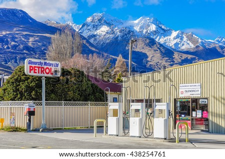GLENORCHY, NEW ZEALAND - AUGUST 6, 2012: Petrol station in Lord of the Rings film location, Glenorchy, New Zealand - stock photo