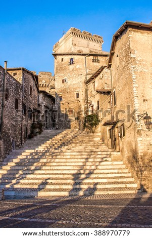 glimpse of the staircase in the center of Sermoneta, a medieval village in the province of Latina, Lazio, Italy