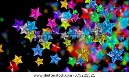 Glistening colourful glossy glass stars on the dark backdrop for any celebration or festive background, looks as luxury brilliants, rubies, sapphires and other gems - stock photo