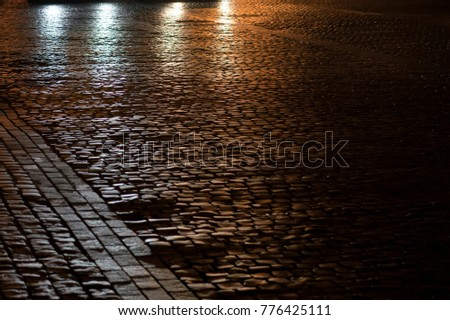 Glistening paving stone from the light of street lamps in the park. Night scene