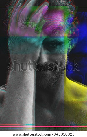 Glitched portrait of a man - stock photo