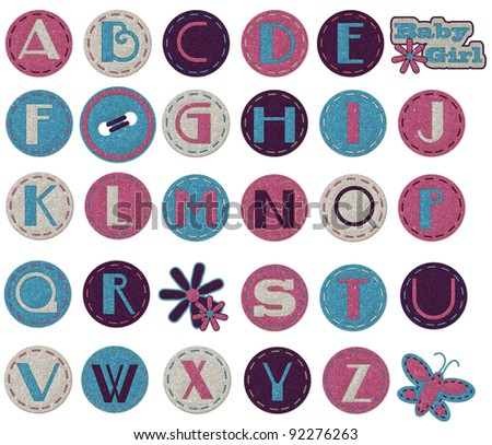 glitter alphabet -girl - stock photo