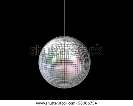 glitter ball isolated on black background - stock photo