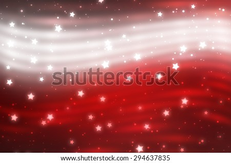 Glitter blur red background with lights and stars