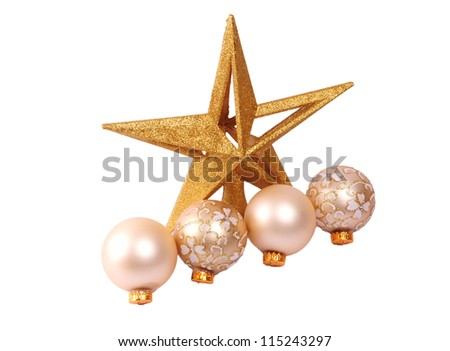 Glitter christmas balls and star isolated on white background