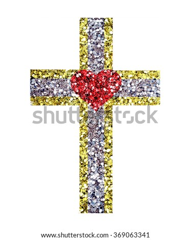 Glitter cross, symbol of the Christian faith on a white background,heart - stock photo