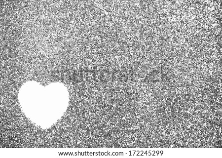 Glitter: Silver Background with Heart Outline - stock photo