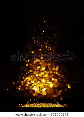 glitter vintage lights background. dark gold and black. defocused. Christmas card - stock photo