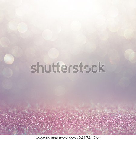 glitter vintage lights background. pink, white and purple. defocused  - stock photo