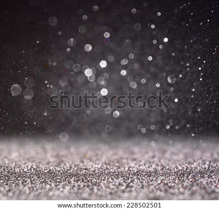 glitter vintage lights background. silver and black. defocused.  - stock photo