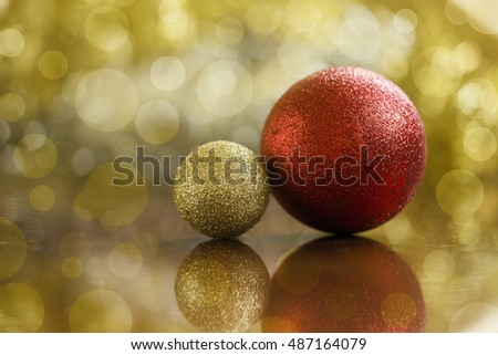 Glittering golden and red Christmas decorations