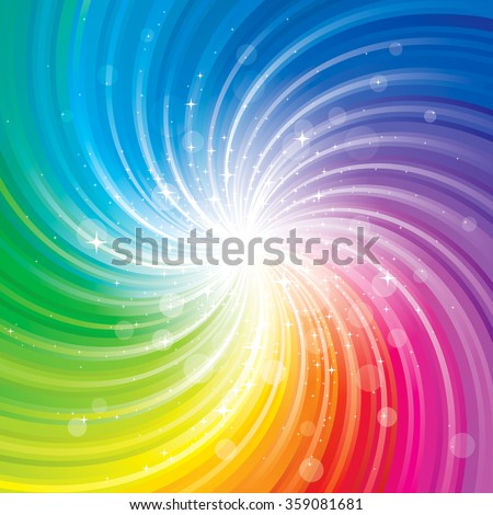 Glittering stars on colorful swirl background. - stock photo