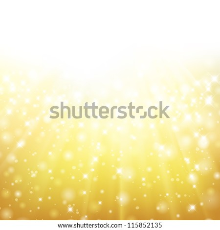 Glittery gold Christmas background with place for new year text invitation. For vector version, see my portfolio. - stock photo