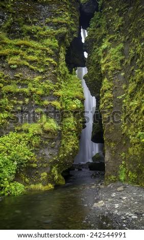 Gljufrabu a waterfall in South Iceland - stock photo