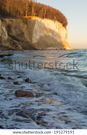 gloaming at the chalk coast of Ruegen Island in Germany - stock photo