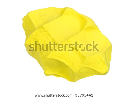 Glob of bright yellow clay.  Against a white background. - stock photo