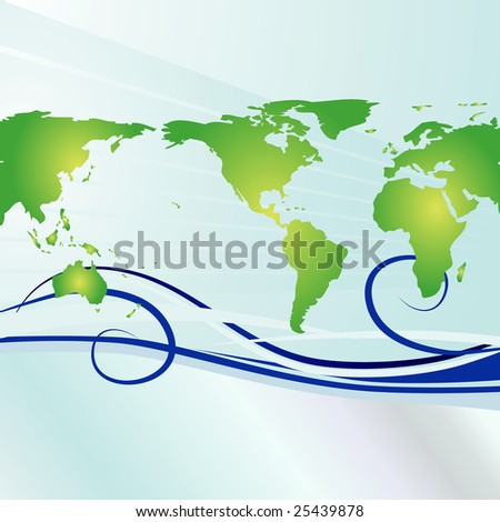 Global background with simple swirls that show currents or jets stream. Ideal for Earth Day. - stock photo