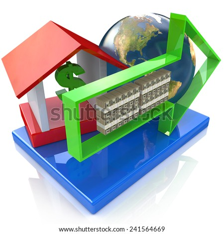 Global banking concept - Elements of this image furnished by NASA - stock photo