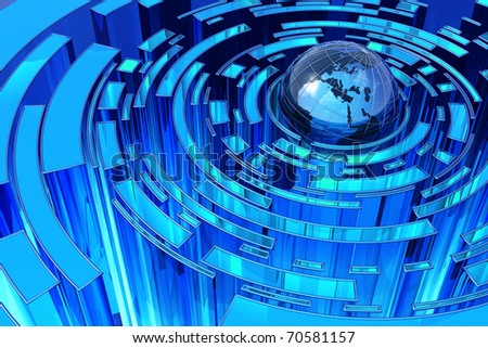 Global blue abstraction - stock photo