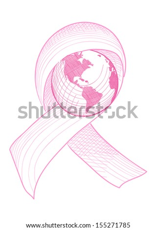 Global breast cancer awareness ribbon symbol with planet Earth concept illustration. - stock photo