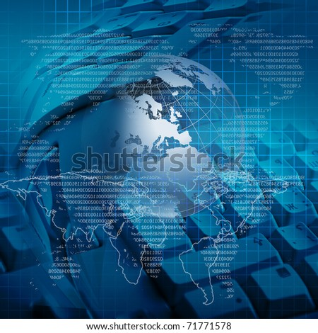 global business and modern global technology illustrated - stock photo