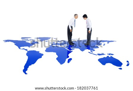 Global Business: Asian Business Greeting - stock photo