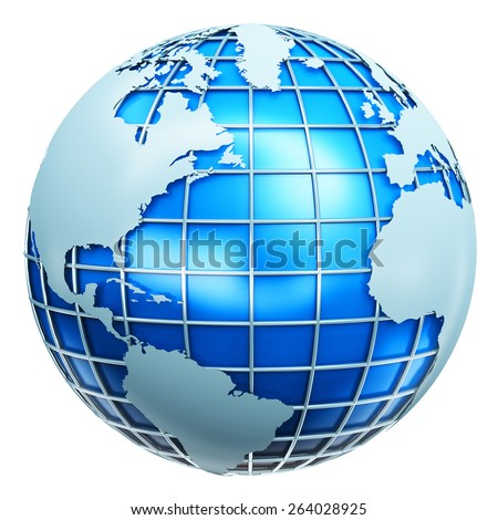 Global business communication, computer internet telecommunication and worldwide web technology corporate network concept: blue metallic Earth globe planet sphere with world map isolated on white - stock photo