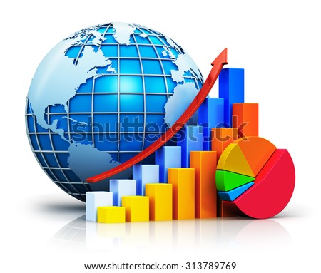 Global business communication success, worldwide financial growth and development concept: growing bar graphs with rising arrow, pie chart and blue Earth globe sphere with world map isolated on white - stock photo