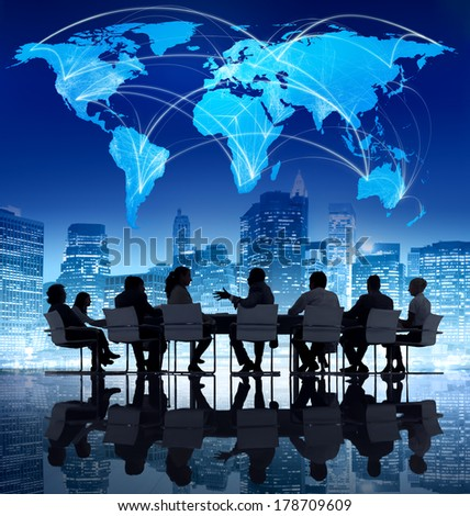 Global Business Communications and Teamwork - stock photo